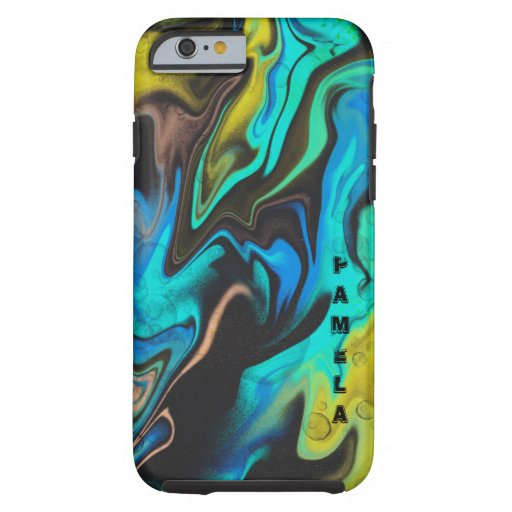 Trendy Yellow blue and black marbling design Tough iPhone 6 Case