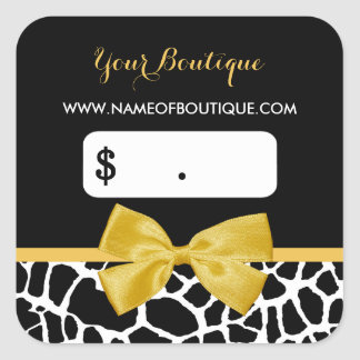Trendy Yellow Bow Giraffe Print Boutique Price Tag