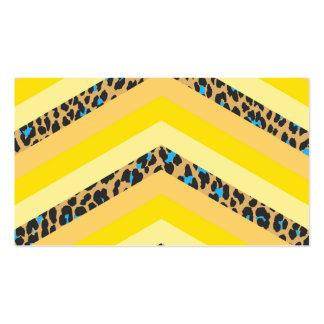 Trendy Yellow Cheetah Chevron Animal Pattern Print Business Card Templates