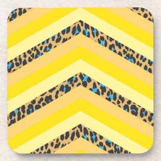 Trendy Yellow Cheetah Chevron Animal Pattern Print Drink Coasters