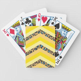 Trendy Yellow Cheetah Chevron Animal Pattern Print Bicycle Poker Deck