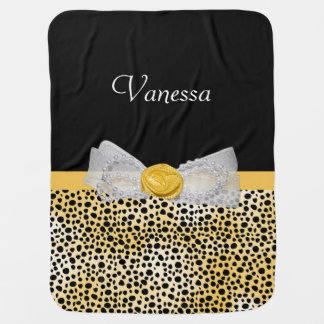 Trendy Yellow Cheetah Print Fancy Bow and Name Swaddle Blanket