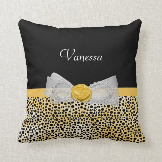 Trendy Yellow Cheetah Print Fancy Bow and Name Throw Pillow