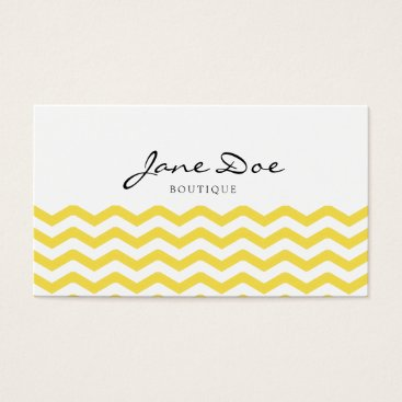 Professional Business Trendy Yellow Chevron Business Card