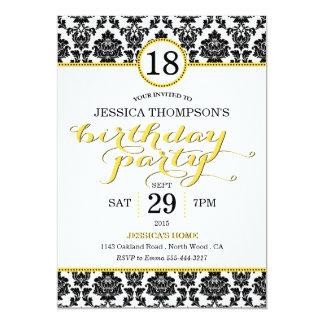 Trendy Yellow Damask Birthday Party Invitations