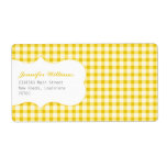 Trendy Yellow Gingham Custom Shipping Labels