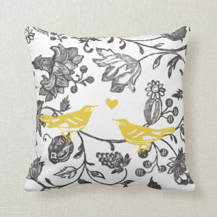 Trendy Yellow Gray And White Floral Bird Pattern Throw Pillow at Zazzle