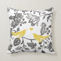 Trendy Yellow Gray and White Floral Bird Pattern Throw Pillow