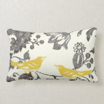 "Trendy Yellow Gray Ivory Vintage Floral Bird Lumbar Pillow<br><div class=""desc"">Colorful Yellow Gray and Ivory Floral Pattern Pillow Vintage Birds and Vintage Floral Pattern</div>"