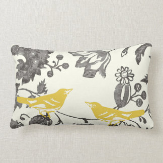 Trendy Yellow Gray Ivory Vintage Floral Bird Lumbar Pillow