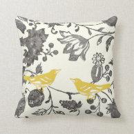 trendy yellow gray ivory vintage floral bird throw pillows