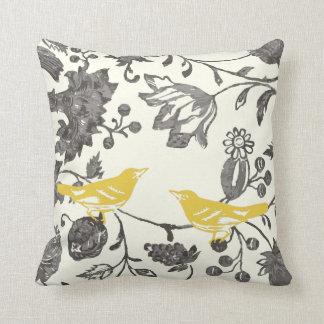 Trendy Yellow Gray Ivory Vintage Floral Bird Throw Pillow