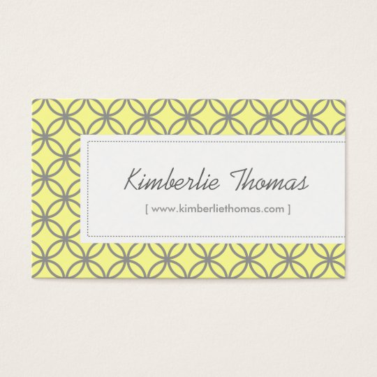 Trendy Yellow & Gray Pattern for Boutique/Salon Business Card