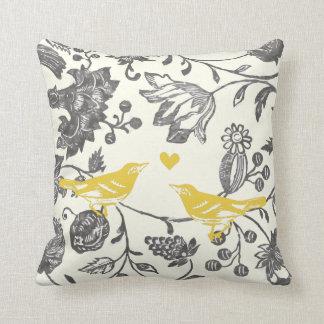Trendy Yellow Gray Vintage Floral Bird Pattern Pillows