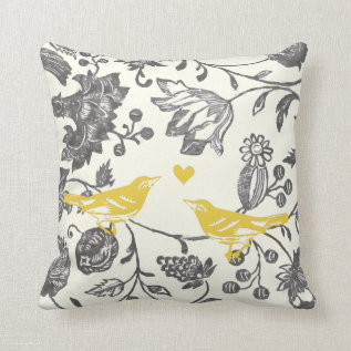 Trendy Yellow Gray Vintage Floral Bird Pattern Throw Pillow at Zazzle