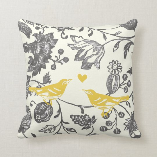 Trendy Yellow Gray Vintage Floral Bird Pattern Throw Pillow Zazzle