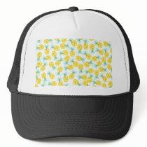 Trendy yellow green watercolor pineapple pattern trucker hat