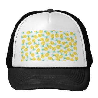 Trendy yellow green watercolor pineapple pattern trucker hat