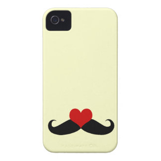 Trendy Yellow I love Mustaches iPhone Case