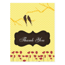 trendy yellow lovebirdsThankYou Cards