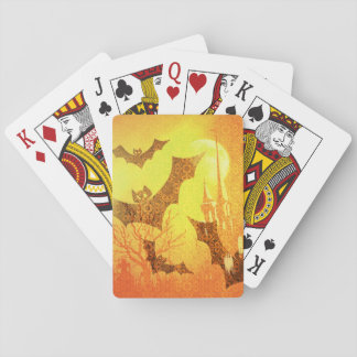 Trendy Yellow Orange Halloween Bats Dead Branches Playing Cards