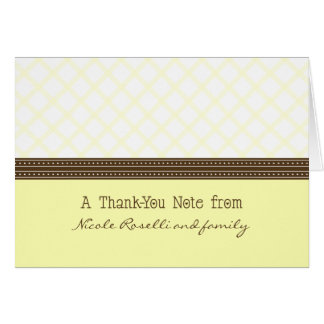 Trendy Yellow Plaid Photo (inside) Thank You Card