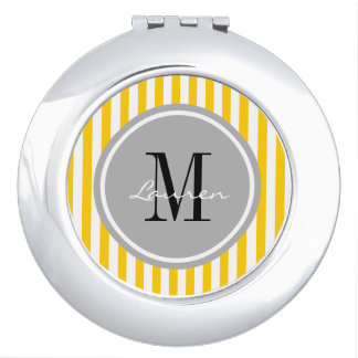 Trendy Yellow Stripes Personalized Compact Mirror
