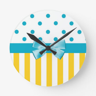 Trendy Yellow Stripes With Blue Ribbon Round Clock