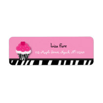 Trendy Zebra Cupcake Address Labels