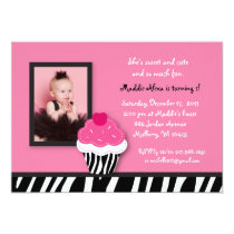 Trendy Zebra Cupcake Birthday Invitations