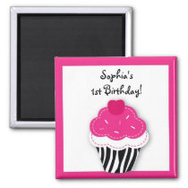 Trendy Zebra Cupcake Party Favor Magnets