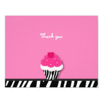 Trendy Zebra Cupcake Thank You Note Cards