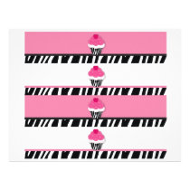 Trendy Zebra Cupcake Water Bottle Labels Flyer