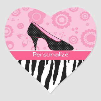 Trendy Zebra Girly Pink Shoes With Name Heart Sticker