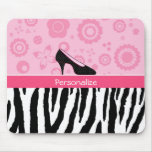 Trendy Zebra Girly Pink Shoes With Name Mousepad