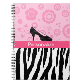 Trendy Zebra Girly Pink Shoes With Name Notebook