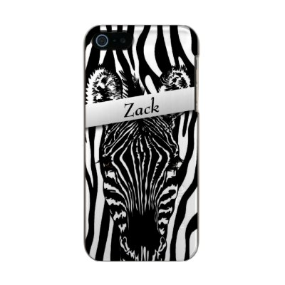 Trendy Zebra Head on Zebra Print Metallic iPhone SE/5/5s Case