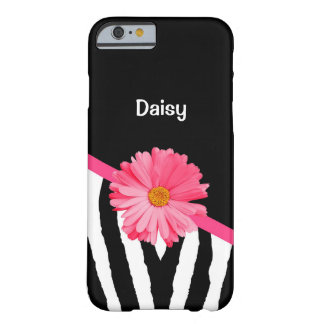 Trendy Zebra Pattern Cute Pink Daisy With Name Barely There iPhone 6 Case