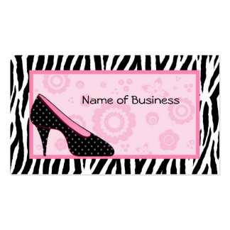Trendy Zebra Pattern Cute Pink Shoe Salon Business Card Template