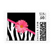 Trendy Zebra Pattern Girly Pink Daisy Postage