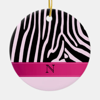 Trendy zebra pink monogram ceramic ornament