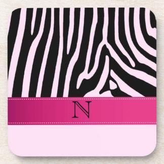 Trendy zebra pink monogram drink coasters