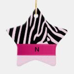 Trendy zebra pink monogram Double-Sided star ceramic christmas ornament