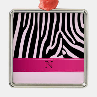 Trendy zebra pink monogram metal ornament
