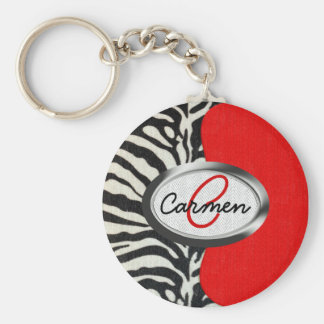 Trendy Zebra Print and Neon Red Monogram Keychain