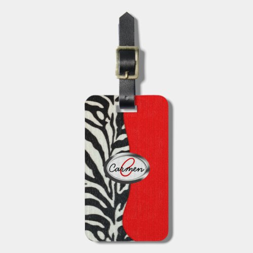Trendy Zebra Print and Neon Red Monogram Luggage Tag