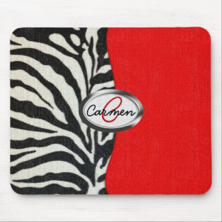 Trendy Zebra Print and Neon Red Monogram Mouse Pad