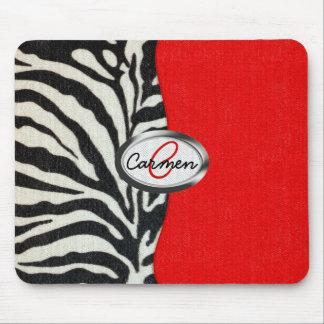 Trendy Zebra Print and Neon Red Monogram Mouse Pad