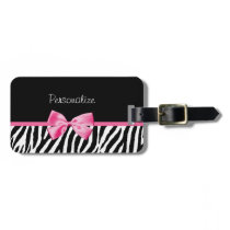 Trendy Zebra Print and Pink Ribbon With Name Luggage Tag