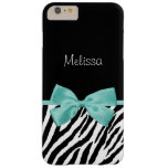 Trendy Zebra Print Aqua Mint Ribbon With Name Barely There iPhone 6 Plus Case